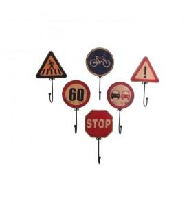 Lot de 6 patères panneaux de signalisation