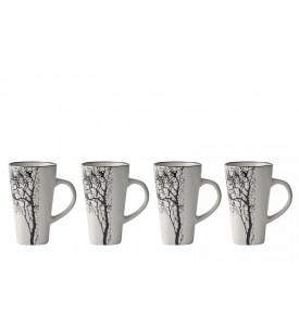 Lot de 4 tasses expresso motif arbre