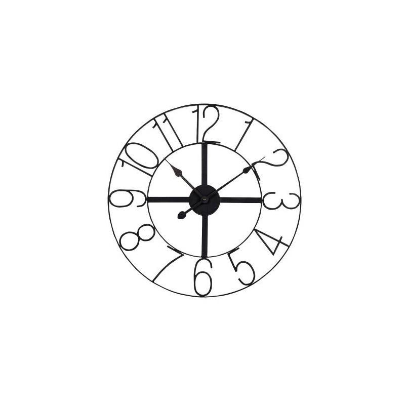 Horloge en m tal noir de chez jardin d 39 ulysse for Horloge metal noir