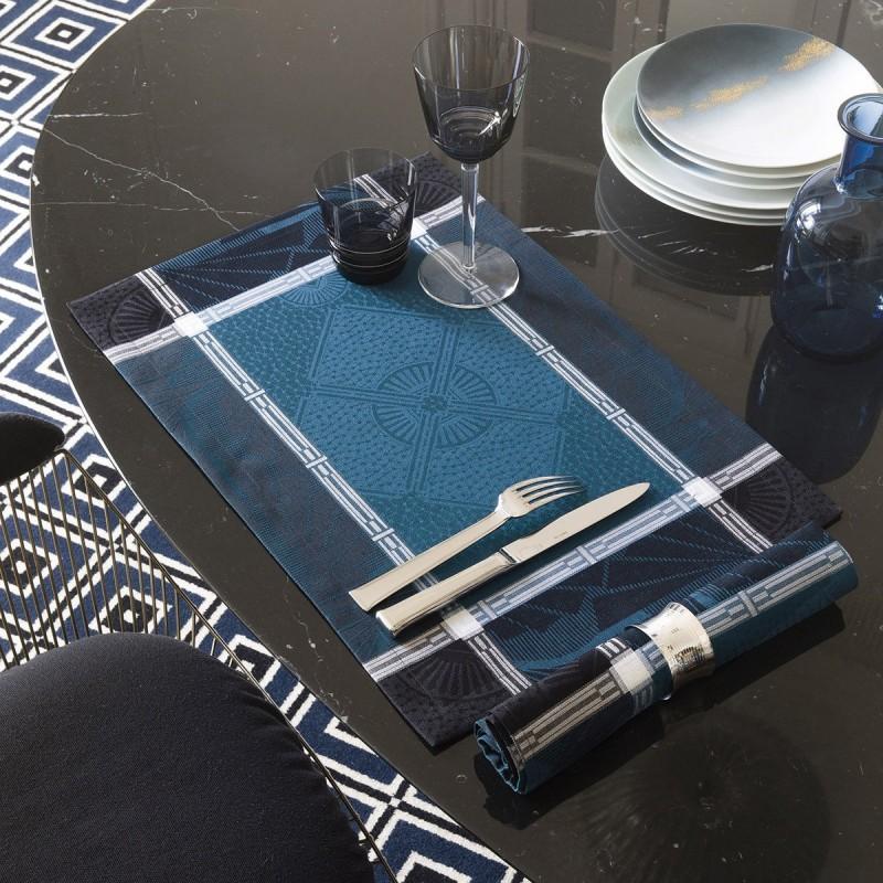 Lot de 2 sets de table Palace bleu paon