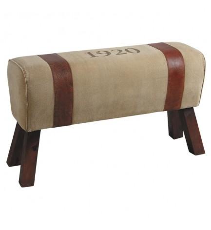 petit banc cuir et coton banc pour chambre ou salon de aubry gaspard. Black Bedroom Furniture Sets. Home Design Ideas