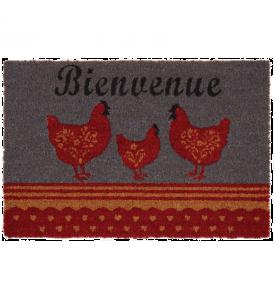 Paillasson 3 poules bienvenue