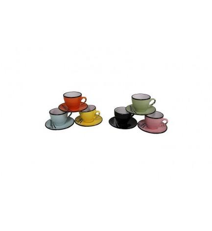 Lot de 6 tasses expresso 6 couleurs avec soucoupes