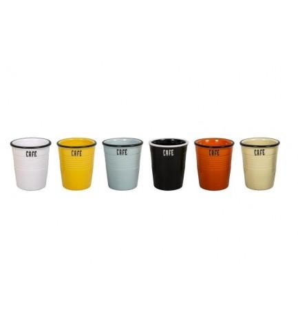 Lot de 6 gobelets CAFE 6 couleurs