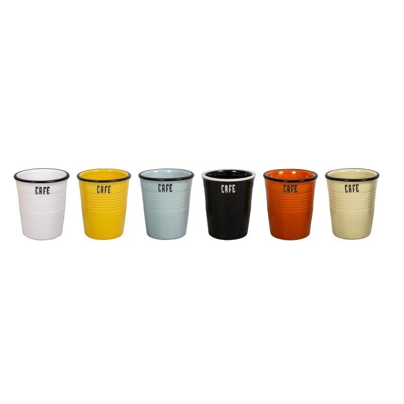 Lot de 6 gobelets CAFE 6 couleurs
