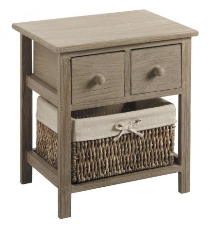 Petit meuble 2 tiroirs avec panier